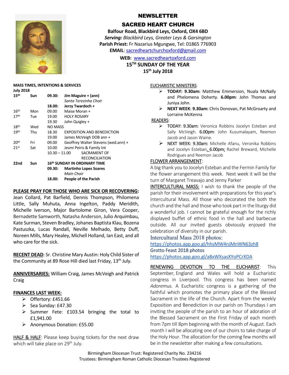 15th July, 2018 - 15th Sunday of the Year_Page_1