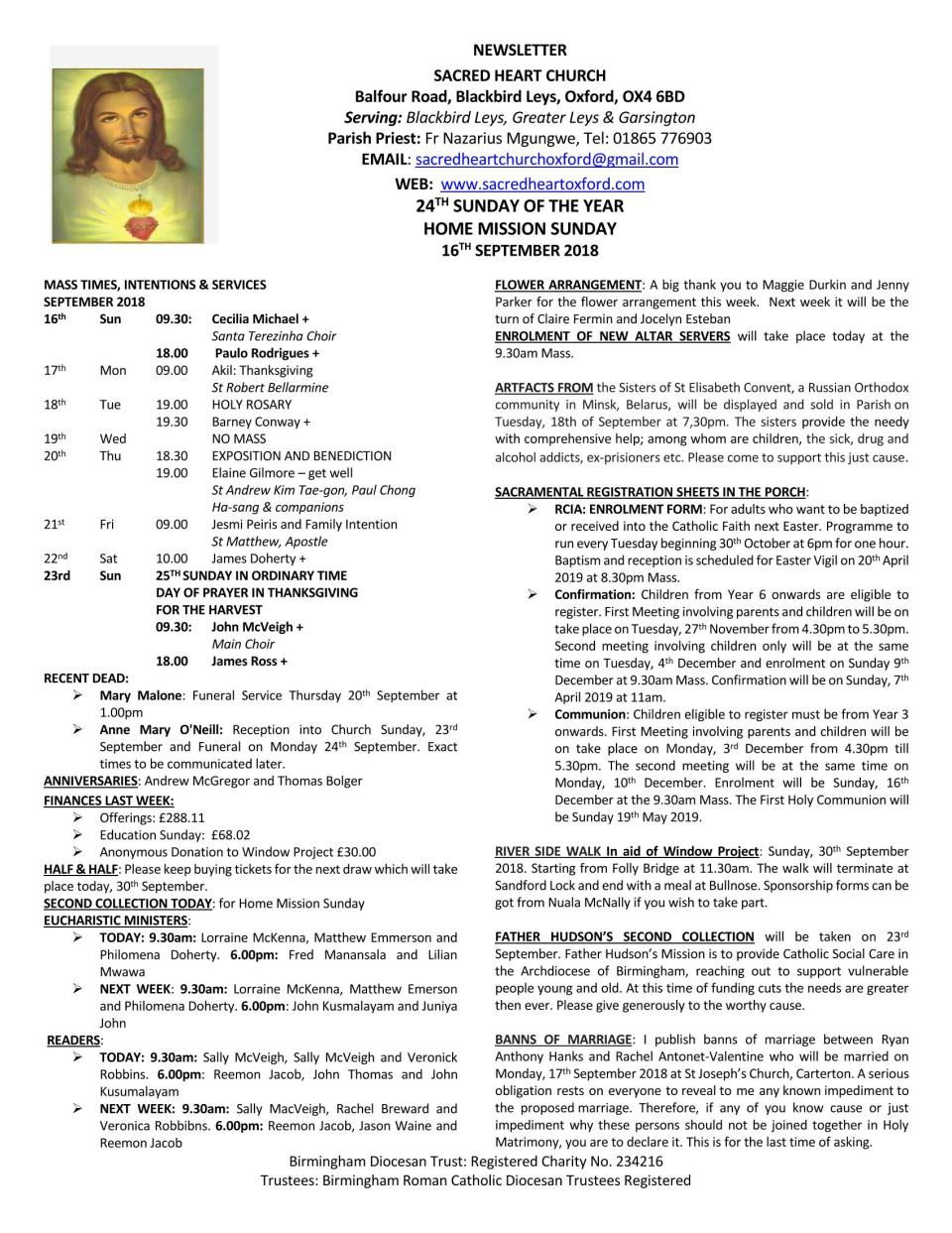 16th September, 2018 - 24th Sunday of the Year_Page_1